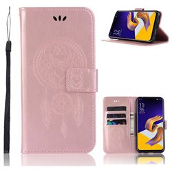 Intricate Embossing Owl Campanula Leather Wallet Case for Asus Zenfone 5Z ZS620KL - Rose Gold