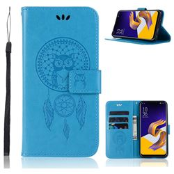 Intricate Embossing Owl Campanula Leather Wallet Case for Asus Zenfone 5Z ZS620KL - Blue