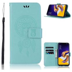 Intricate Embossing Owl Campanula Leather Wallet Case for Asus Zenfone 5Z ZS620KL - Green