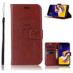 Intricate Embossing Owl Campanula Leather Wallet Case for Asus Zenfone 5Z ZS620KL - Brown