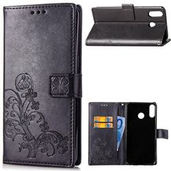 Embossing Imprint Four-Leaf Clover Leather Wallet Case for Asus Zenfone 5Z ZS620KL - Black