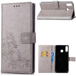 Embossing Imprint Four-Leaf Clover Leather Wallet Case for Asus Zenfone 5Z ZS620KL - Grey