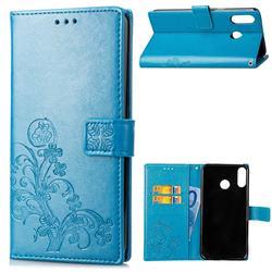 Embossing Imprint Four-Leaf Clover Leather Wallet Case for Asus Zenfone 5Z ZS620KL - Blue