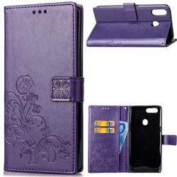 Embossing Imprint Four-Leaf Clover Leather Wallet Case for Asus Zenfone 5Z ZS620KL - Purple