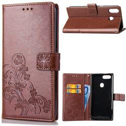 Embossing Imprint Four-Leaf Clover Leather Wallet Case for Asus Zenfone 5Z ZS620KL - Brown
