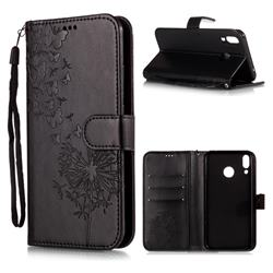 Intricate Embossing Dandelion Butterfly Leather Wallet Case for Asus Zenfone 5Z ZS620KL - Black