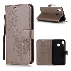 Intricate Embossing Dandelion Butterfly Leather Wallet Case for Asus Zenfone 5Z ZS620KL - Gray