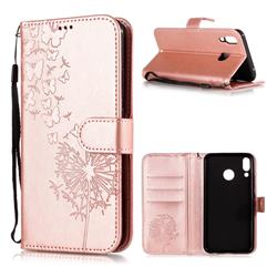 Intricate Embossing Dandelion Butterfly Leather Wallet Case for Asus Zenfone 5Z ZS620KL - Rose Gold