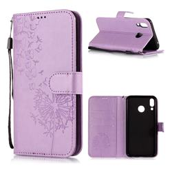 Intricate Embossing Dandelion Butterfly Leather Wallet Case for Asus Zenfone 5Z ZS620KL - Purple