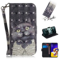Cat Embrace 3D Painted Leather Wallet Phone Case for Asus Zenfone 5Z ZS620KL