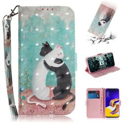 Black and White Cat 3D Painted Leather Wallet Phone Case for Asus Zenfone 5Z ZS620KL