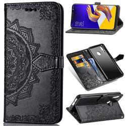 Embossing Imprint Mandala Flower Leather Wallet Case for Asus Zenfone 5Z ZS620KL - Black