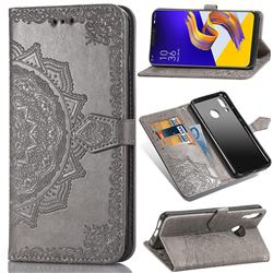 Embossing Imprint Mandala Flower Leather Wallet Case for Asus Zenfone 5Z ZS620KL - Gray