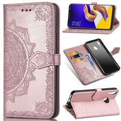 Embossing Imprint Mandala Flower Leather Wallet Case for Asus Zenfone 5Z ZS620KL - Rose Gold