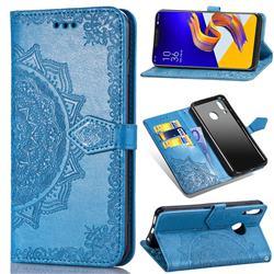 Embossing Imprint Mandala Flower Leather Wallet Case for Asus Zenfone 5Z ZS620KL - Blue
