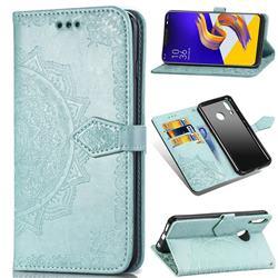 Embossing Imprint Mandala Flower Leather Wallet Case for Asus Zenfone 5Z ZS620KL - Green
