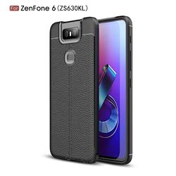 Luxury Auto Focus Litchi Texture Silicone TPU Back Cover for Asus ZenFone 6 (ZS630KL) - Black