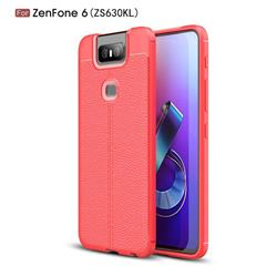 Luxury Auto Focus Litchi Texture Silicone TPU Back Cover for Asus ZenFone 6 (ZS630KL) - Red