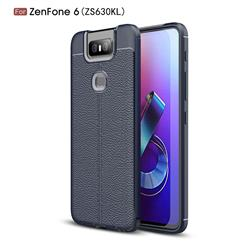Luxury Auto Focus Litchi Texture Silicone TPU Back Cover for Asus ZenFone 6 (ZS630KL) - Dark Blue