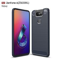 Luxury Carbon Fiber Brushed Wire Drawing Silicone TPU Back Cover for Asus ZenFone 6 (ZS630KL) - Navy