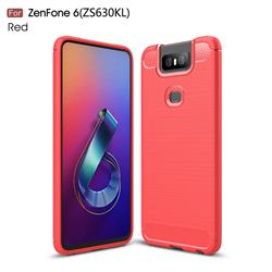 Luxury Carbon Fiber Brushed Wire Drawing Silicone TPU Back Cover for Asus ZenFone 6 (ZS630KL) - Red