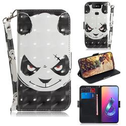 Angry Bear 3D Painted Leather Wallet Phone Case for Asus ZenFone 6 (ZS630KL)