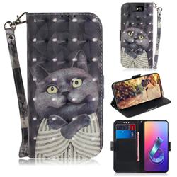 Cat Embrace 3D Painted Leather Wallet Phone Case for Asus ZenFone 6 (ZS630KL)