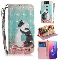 Black and White Cat 3D Painted Leather Wallet Phone Case for Asus ZenFone 6 (ZS630KL)