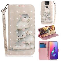 Three Squirrels 3D Painted Leather Wallet Phone Case for Asus ZenFone 6 (ZS630KL)