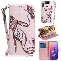 Butterfly High Heels 3D Painted Leather Wallet Phone Case for Asus ZenFone 6 (ZS630KL)