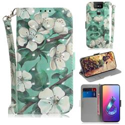 Watercolor Flower 3D Painted Leather Wallet Phone Case for Asus ZenFone 6 (ZS630KL)
