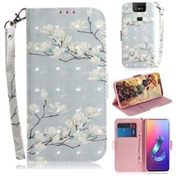 Magnolia Flower 3D Painted Leather Wallet Phone Case for Asus ZenFone 6 (ZS630KL)