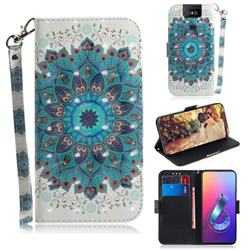 Peacock Mandala 3D Painted Leather Wallet Phone Case for Asus ZenFone 6 (ZS630KL)