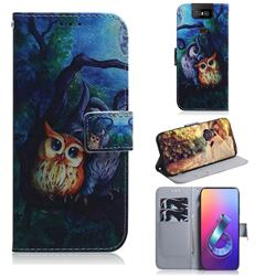 Oil Painting Owl PU Leather Wallet Case for Asus ZenFone 6 (ZS630KL)