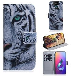 White Tiger PU Leather Wallet Case for Asus ZenFone 6 (ZS630KL)