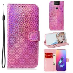 Laser Circle Shining Leather Wallet Phone Case for Asus ZenFone 6 (ZS630KL) - Pink