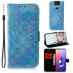 Laser Circle Shining Leather Wallet Phone Case for Asus ZenFone 6 (ZS630KL) - Blue