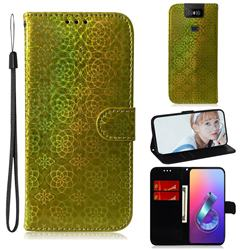 Laser Circle Shining Leather Wallet Phone Case for Asus ZenFone 6 (ZS630KL) - Golden
