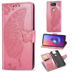 Embossing Mandala Flower Butterfly Leather Wallet Case for Asus ZenFone 6 (ZS630KL) - Pink
