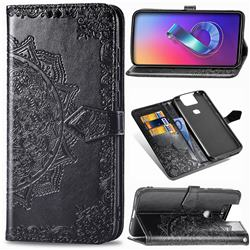 Embossing Imprint Mandala Flower Leather Wallet Case for Asus ZenFone 6 (ZS630KL) - Black