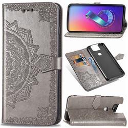 Embossing Imprint Mandala Flower Leather Wallet Case for Asus ZenFone 6 (ZS630KL) - Gray