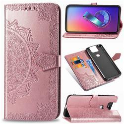 Embossing Imprint Mandala Flower Leather Wallet Case for Asus ZenFone 6 (ZS630KL) - Rose Gold