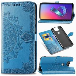 Embossing Imprint Mandala Flower Leather Wallet Case for Asus ZenFone 6 (ZS630KL) - Blue