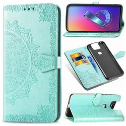 Embossing Imprint Mandala Flower Leather Wallet Case for Asus ZenFone 6 (ZS630KL) - Green