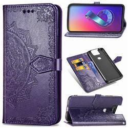 Embossing Imprint Mandala Flower Leather Wallet Case for Asus ZenFone 6 (ZS630KL) - Purple