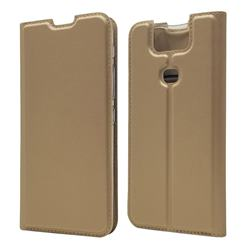 Ultra Slim Card Magnetic Automatic Suction Leather Wallet Case for Asus ZenFone 6 (ZS630KL) - Champagne