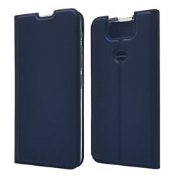 Ultra Slim Card Magnetic Automatic Suction Leather Wallet Case for Asus ZenFone 6 (ZS630KL) - Royal Blue