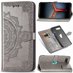 Embossing Imprint Mandala Flower Leather Wallet Case for Asus ROG Phone 2 ZS660K - Gray