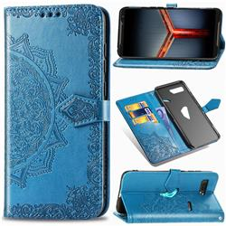 Embossing Imprint Mandala Flower Leather Wallet Case for Asus ROG Phone 2 ZS660K - Blue