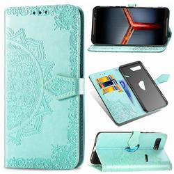Embossing Imprint Mandala Flower Leather Wallet Case for Asus ROG Phone 2 ZS660K - Green